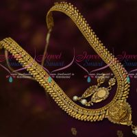 Leaf Design Chain Temple Pendant Antique Gold Plated Haram Collections