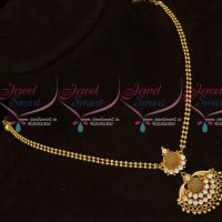 White AD Stones Gold Covering Ball Chain Small Pendant Daily Wear Jewellery