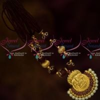 Maroon Beads Multi Strand Beaded Mala Temple Pendant South Indian Low Price Jewelry