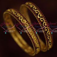 Maroon Stones Floral Design Gold Covering Broad Daily Wear Jewellery Low Price Bangles Online
