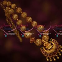 Beaded Antique Reddish Gold Plated Jewelry Temple South Indian Traditional Design