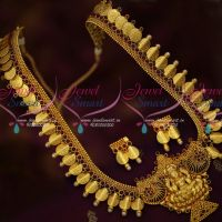 Gheru Reddish Gold Plated Bent Coin Temple Haram Traditional Design Jewellery Online