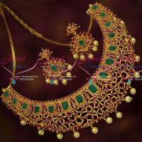 Ruby Emerald Stones Exclusive Gold Design Grand Bridal Necklace Set Online