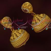 Ruby White AD Stones Broad Jhumka Earrings Gold Plated Latest Online