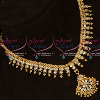 White AD Marquise Stones Flexible South Indian Handmade Gold Finish Jewellery Set Shop Online