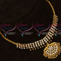 Choker Style AD White Stones South Indian Gold Covering Necklace Online