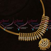 Beads Design Pendant Flat Chain AD White Stones Necklace Gold Covering Jewelry