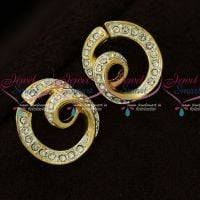 Unique Spiral Design Two Tone Plated Earrings Micron Plated Regular Wear