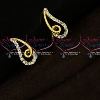 Gold Plated Small Size White Stone Earrings Casual Wear Jewellery Online