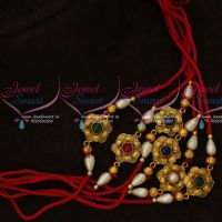 Floral Design Different Colour Stones 6 Pcs Rakhi Combo Set
