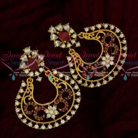 Floral Design Beautiful Chand Bali Earrings South Screw AD Jewellery Online