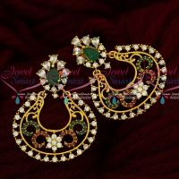 Floral Design Beautiful Chand Bali Earrings South Screw AD Multi Color Jewellery Online