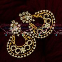 Floral Design Beautiful Chand Bali Earrings South Screw AD White Stones Jewellery Online
