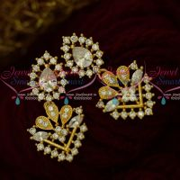 AD Stones Fancy Jewellery Flower Pot Earrings Latest Artificial Collections