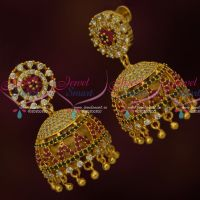 AD Jhumkas South Screw Models Multi Colour Stones Party Wear Jewelry