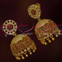 AD Jhumkas South Screw Models Ruby Colour Stones Party Wear Jewelry