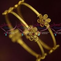 Antique Gold Plated Floral Design Fancy Bangles Ruby Stones Jewelry Online