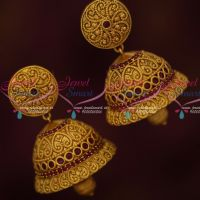 Floral Design Ruby Stones Perfect Shape Jhumka Earrings Latest Matte Collections