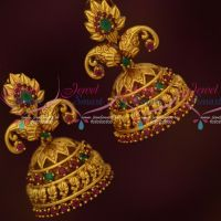 Mango Leaf Design Stylish Ruby Emerald Jhumka Earrings Latest Antique Jewellery