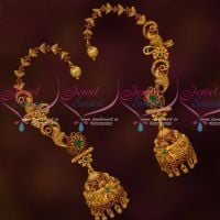 AD Jewellery Matte Intricately Designed Gold Inspired Bluetooth Extra Clip Earrings Online