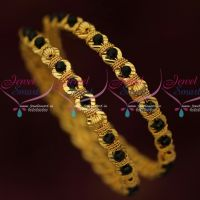 Black Beads Gold Covering Bangles Latest Fancy Imitation Jewellery Shop Online