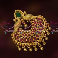 South Indian Fancy Gold Covering Pendant Red Green Stones Gold Plated Designs Online