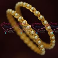 Pearl Beaded Gold Covering Bangles Latest Fancy Imitation Jewellery Shop Online