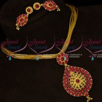 South Indian Gold Covering Kemp Jewellery Fancy Chain Pendant Set Online