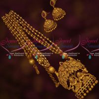 Gold Inspired Intricately Finished Temple Beads Mala Matching Jhumka Earrings