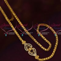 Fancy Gold Covering Chain Mugappu AD White Stones Latest Models Online