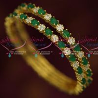 Original Kemp Green White AD Stones Latest Traditional Bangle Designs Shop Online