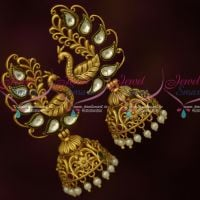 Kundan Antique Peacock Jhumka Earrings Latest Fashion Jewellery Designs Online