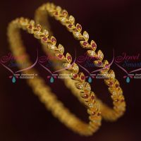 Ruby White Leaf Design AD Gold Covering Daily Wear Bangles Online