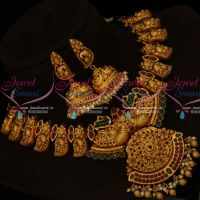 Traditional Gold Design Nagas Broad Necklace Semi Precious Stones Matte Finish Online