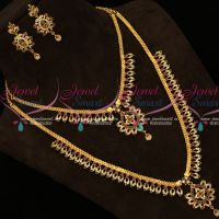 American Diamond South Indian Jewellery Short Long Combo Gold Covering Set Online