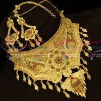 Forming 100Mg Gold Plated Bridal Choker Necklace Earchain Mattal Set Shop Online
