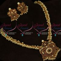 AD Hand Setting Stones Pendant Pearl Danglers Chain Matching Earrings Gold Inspired Jewellery Online