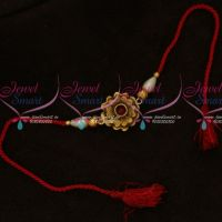 Floral Matte Finish Pendant Rakhi Red Colour Rope Shop Online