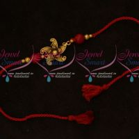 Floral Design Pendant Rakhi Red Colour Rope Shop Online