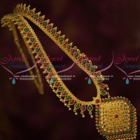 South Indian Gold Covering Haram Ruby Emerald Beads Danglers Traditional Designs Online