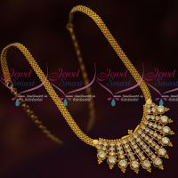 South Indian Jewellery AD White Stones Chain Pendant Gold Covering Models