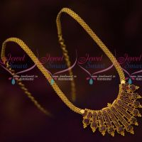 Traditional Indian Jewellery Design Flat Chain AD Pendant Latest Gold Covering