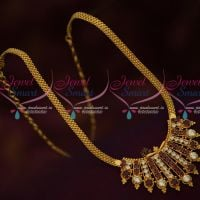 Traditional Indian Jewellery Design Flat Chain Red White Pendant Latest Gold Covering