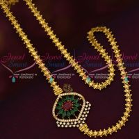South Mugappu Models Gold Covering Chain AD Marquise Multi Colour Stones Online