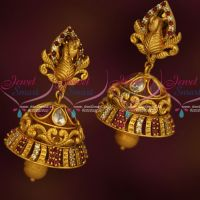 Peacock 3D Face Stylish Matte Gold Antique Jhumka Earrings Latest AD Jewellery