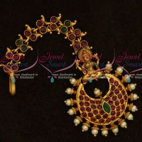 Red Green Stones Temple Antique Jewellery Nethichutti Traditional Bridal Collections Online