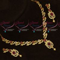 Latest Imitation AD Jewellery Peacock Design Ruby White Stones Shop Online