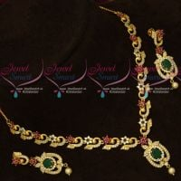 Gold Design Imitation Jewellery AD Multi Colour Stones Fancy Necklace