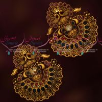 Beautiful Grand Antique Big Chand Bali Earrings Latest Antique Gold Finish Collections Online