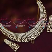 Sparkling AD White Stones Diamond Look Imitation Jewellery Short Necklace Online